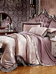 cheap -Brown Queen King Size Bedding Set Luxury Silk Cotton Blend Lace Duvet Cover Sets Jacquard Pattern