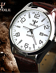 Men's Women's Couple's Fashion Watch Quartz Water Resistant / Water Proof Leather Band Black Brown
