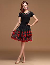 abordables -Danse latine Tenue Femme Utilisation Coton Tulle Fibre de Lait Broderie Ruché Manches courtes Taille moyenne Haut Jupe