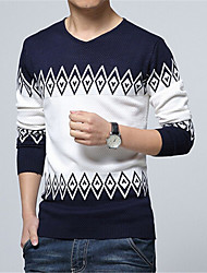 cheap -Men's Daily Weekend Color Block Pullover, Long Sleeves Cotton