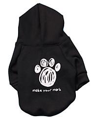 economico -Gatti Cani Felpe con cappuccio Nero Abbigliamento per cani Inverno Primavera/Autunno Lettere & Numeri Di tendenza