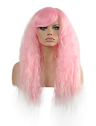 Light Pink Curly  Lady Wig Hair Cosplay Synthetic Hair Wig