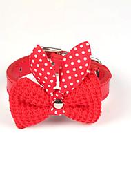 preiswerte -Katze Hund Halsbänder Regolabile / Einziehbar PU-Leder Wollen Purpur Gelb Rot Blau Rosa