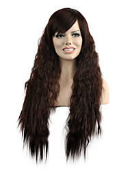 cheap -Natural Wave Long Length Brown Color Popular Synthetic Wigs For Woman