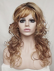 cheap -Synthetic Wig Deep Wave With Bangs Density Capless Blonde Party Wig Natural Wigs Long Synthetic Hair
