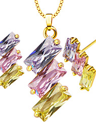 Vintage 18K Gold Plated Crystal Pendants Necklace Earrings jewelry Set For Women charm Fashion Jewelry gift S20120