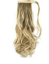 cheap -24 inch Strawberry Blonde/Light Blonde Clip In Wavy Curly Ponytails Wrap Around Synthetic Hair Piece Hair Extension