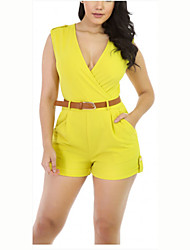 cheap -Women's Solid Yellow Jumpsuits,Sexy / Simple V Neck Sleeveless (Without Belt)