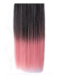 abordables -clip de 26 pulgadas en color rosa extensiones de cabello lacio negro sintéticos con 5 clips
