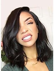 Недорогие -Натуральные волосы Полностью ленточные Лента спереди Парик Стрижка боб Бразильские волосы Волнистый Природа Черный Парик 130% Плотность волос / Природные волосы / 100% ручная работа