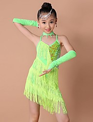 cheap -Latin Dance Dresses Children's Performance Polyester Spandex Sequin Tassel Sleeveless High Dress Gloves Neckwear