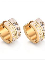 Femme Boucles d'oreille gitane Mode Simple Style bijoux de fantaisie Acier au titane Imitation Diamant Forme de Cercle Bijoux Pour Soirée