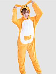 Unisex Coral Fleece Yellow Kangaroo Kigurumi Pajama