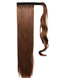 24 pouces Auburn A Clipser Droite Queue-de-cheval Enrouler autour Fibre synthétique Pièce de cheveux Extension des cheveux