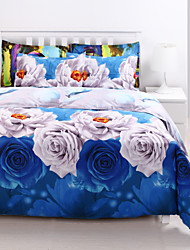 3D(random pattern) Duvet Cover Sets 4 Piece Poly/Cotton 3D Reactive Print Poly/Cotton Queen 4pcs (1 Duvet Cover, 1 Flat Sheet, 2 Shams)