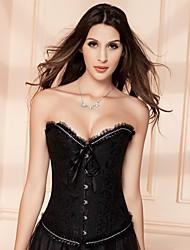 cheap -YUIYE® Women Black White Sexy Lingerie Waist Training Corset Bustier Tops Shapewear Overbust Corset Plus Size S-6XL