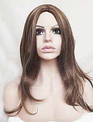 cheap -Synthetic Wig Wavy / Natural Wave Asymmetrical Haircut / With Bangs Synthetic Hair Highlighted / Balayage Hair / Natural Hairline Brown Wig Women's Long Capless