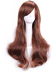 Light Brown Wavy Curly Sexy Pelucas Natural Realistic Wig Cosplay Wigs Perruque Cheap Synthetic Hair Wig Bangs Peruca