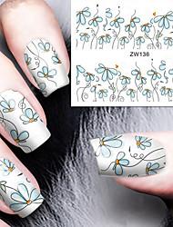 Fashion Printing Pattern Water Transfer Printing Blue Floret Nail Stickers