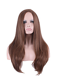 cheap -Synthetic Wig Straight / kinky Straight Asymmetrical Haircut Synthetic Hair Natural Hairline Brown Wig Women's Long Capless