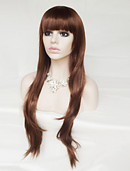 cheap -Women Synthetic Wig Capless Long Wavy Natural Wave Medium Auburn With Bangs Party Wig Halloween Wig Natural Wigs Costume Wig