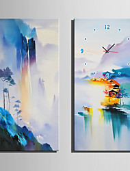 cheap -E-HOME® Colorful Mountains And Water Views Clock in Canvas 2pcs