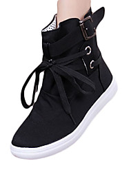 cheap -Women's Boots Winter Fashion Boots Canvas Casual Flat Heel Lace-up Black / Gray