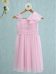 cheap -Sheath / Column Straps Knee Length Chiffon Junior Bridesmaid Dress with Ruffles Side Draping by LAN TING BRIDE®