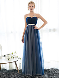 Sheath / Column Sweetheart Floor Length Chiffon Tulle Prom Formal Evening Dress with Crystal Detailing by Embroidered bridal