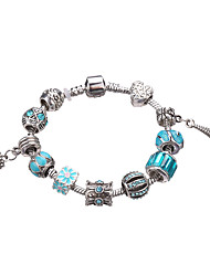 cheap -Women's Crystal Beaded Charm Bracelet / Strand Bracelet - Rhinestone, Silver Plated European, Fashion Bracelet Fuchsia / Red / Light Blue For Party / Daily / Casual