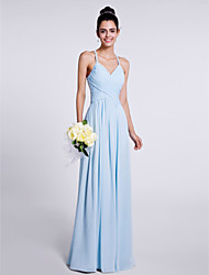 Sheath / Column Spaghetti Straps Floor Length Chiffon Bridesmaid Dress with Criss Cross by LAN TING BRIDE®