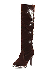 Women's Boots Winter Fashion Boots Fleece Casual Stiletto Heel Beading Black / Brown