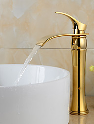 Contemporary Waterfall Gold Heightening Bathroom Basin Faucet
