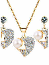 Heart Pearl Crystal Fashion Exquisite Dinner With A Valentine's Day Gift Jewelry Set