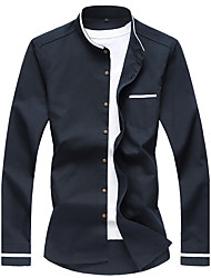 Men's Plus Size 7XL Solid Business Slim Fit Casual Long Sleeve Shirt, Cotton / Casual / Plus Sizes