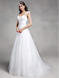 A-Line Sweetheart Court Train Lace Tulle Wedding Dress with Appliques Criss-Cross by LAN TING BRIDE®