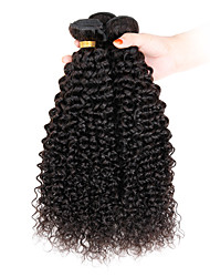 cheap -Indian Hair Afro / Kinky Curly Virgin Human Hair Natural Color Hair Weaves 3 Bundles 8-26 inch Human Hair Weaves Hot Sale Natural Black Human Hair Extensions