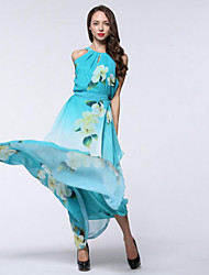 Women's Holiday Plus Size Boho Chiffon Swing Dress,Print Round Neck Maxi Sleeveless Polyester Summer High Rise Micro-elastic