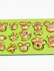 Multi Cartoon Mouse Cupcake Decoration Silicone Fondant Mold Sugarcraft Tools Polymer Clay Chocolate Color Random