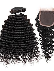 billige -Hårstykke med lukning Peruviansk hår Dyb Bølge 4 Dele hår vævninger