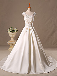 Princess Scoop Neck Sweep / Brush Train Satin Tulle Wedding Dress with Beading Lace by
