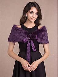 cheap -Sleeveless Faux Fur Wedding Party Evening Women's Wrap With Bow Capelets
