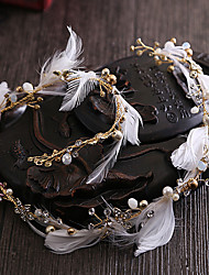 Brass Imitation Pearl Rhinestone Feather Headbands Headpiece