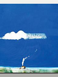 baratos -Pintura a Óleo Pintados à mão - Paisagens Abstratas Modern Com Moldura