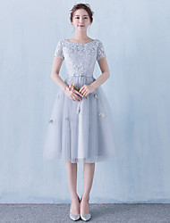 cheap -A-Line Boat Neck Knee Length Tulle Cocktail Party Dress with Flower by LAN TING Express