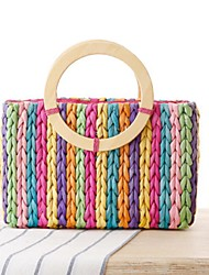 Women Bags All Seasons Straw Tote for Casual Outdoor Rainbow