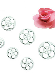 cheap -6Pcs Roses DIY Cutting Mould Double Sugar Cake Decoration Mold