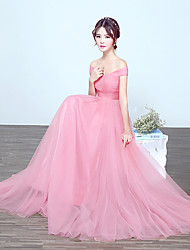 cheap -A-Line Off Shoulder Floor Length Tulle Bridesmaid Dress with Draping by LAN TING Express