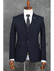 cheap -Dark Blue Stripes Slim Fit Polyester Suit - Notch Single Breasted One-button