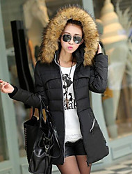 Women's Solid Red / Black / Green Down Coat,Simple / Street chic Hooded Long Sleeve